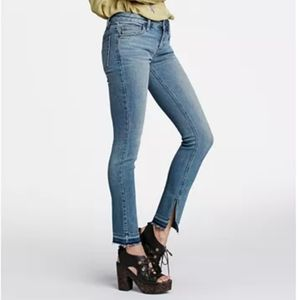 Free People Slit Raw Hem Skinny Jeans
